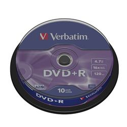 TARRINA 10 UNIDADES DVD+R VERBATIM 16X ADVANCED (CANON 2.10) - 43498